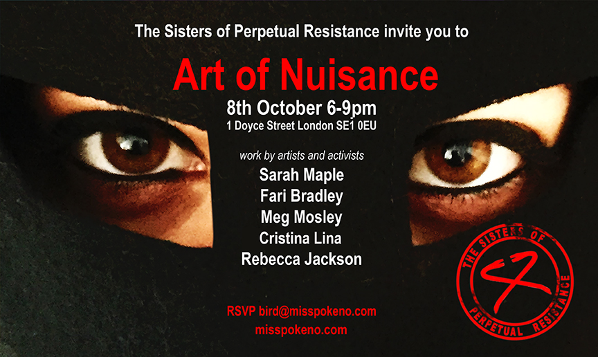 Sisters of Perpetual Resistance Art Of Nuisance Invite