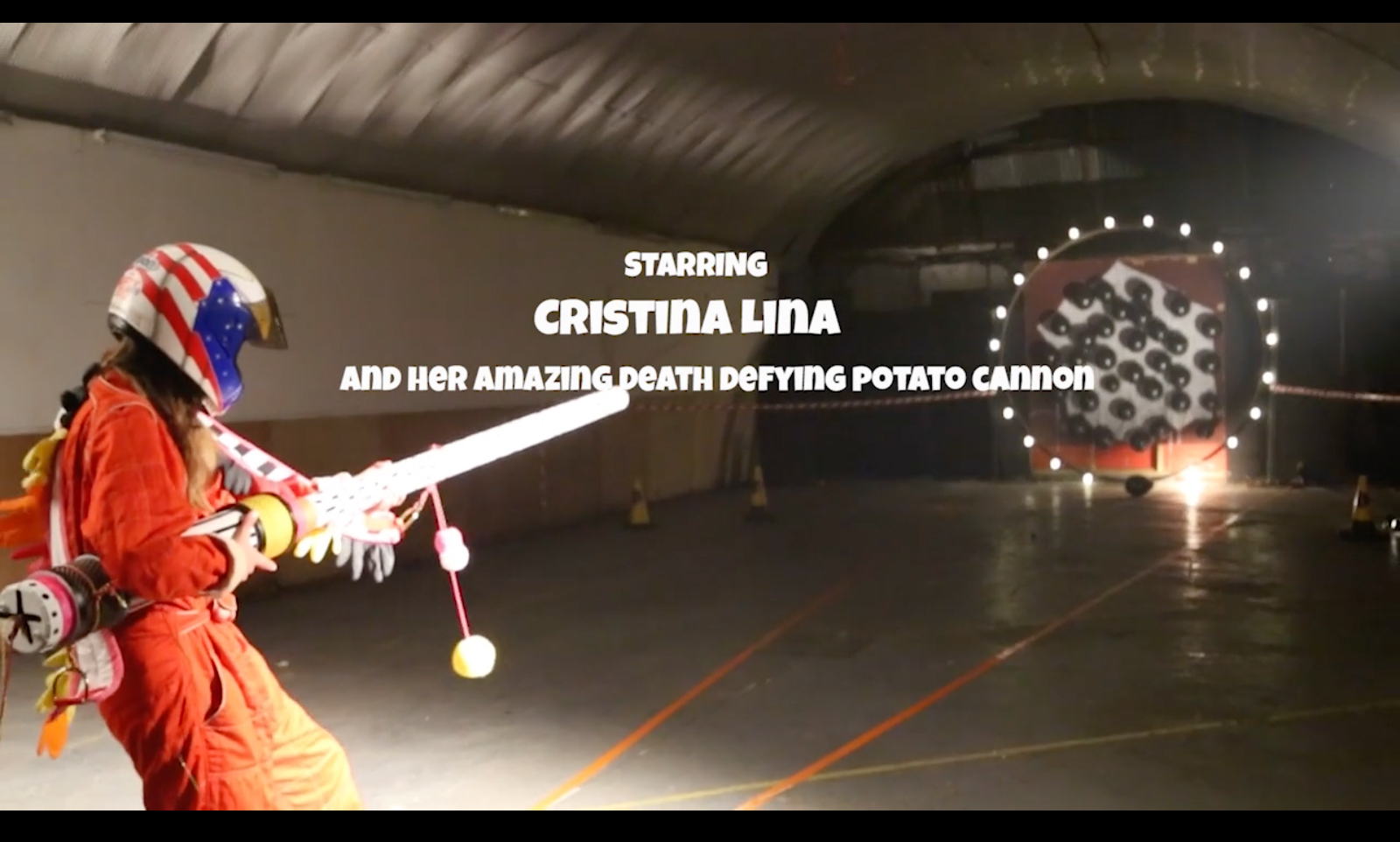 cristina lina with potato cannon